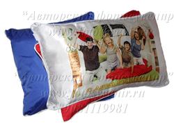 Подушка с цветной тыльной стороной (синяя/красная)