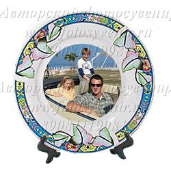 Тарелка, каемка с рисунком листья